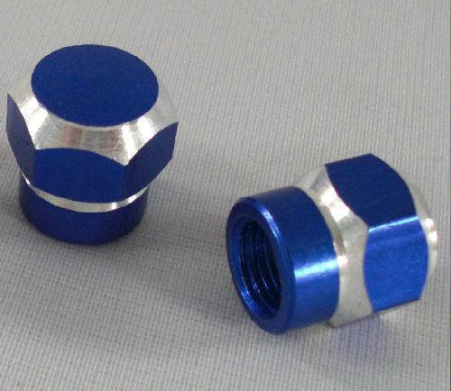 KUSTOM KAPZ BLUE HEX BILLET VALVE CAP wheel stem tire yamaha bmw suzuki car race