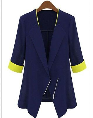 New Women thin section hit color stitching fashion zipper suit small suit jacket