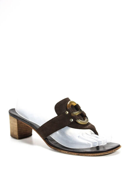 Hermes Womens Suede Low Wooden Heel T-Strap Sandals Brown Size 38.5 8.5