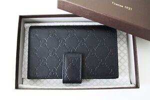 GUCCI-363420-Geldboerse-Portemonnaie-Monogramm-schwarz-Leder-Wallet