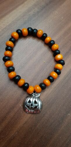 Halloween bracelet pumkin orange and black childrens