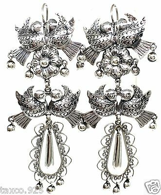 TAXCO MEXICAN 925 STERLING SILVER DECO FLORAL BIRD EARRINGS MEXICO