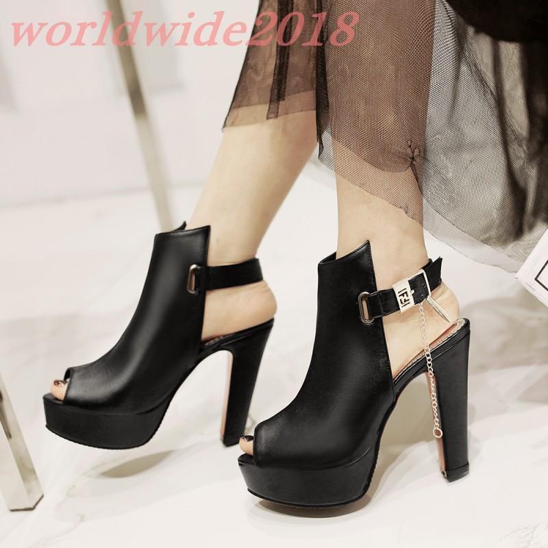 Sexy Peep Toe Damen Pumps Cosplay Block Absatz Schuhe Frauen Platform Schnalle