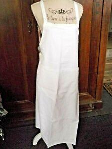 Tablier-de-cuisine-100-COTON-blanc-avec-poches