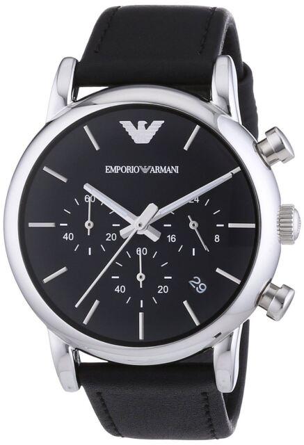Emporio Armani Mens Chronograph Watch Black Dial Strap AR1733