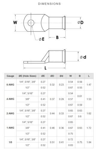Cuivre Anneau Cosse des Bare Batterie Câble De Soudage Fil Connecteurs