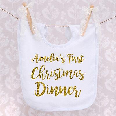 Brioso I Neonati Prima Cena Di Natale Bavaglino Regalo Di Natale Oro Personalizzato Testo Vex-