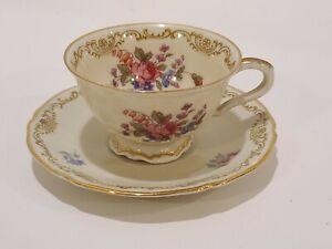Porcelain-Demitasse-Cup-Tea-Hand-Painted-Saucer-Bavaria-Hutschenreuther-Gelb-LHS