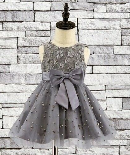 Baby girls gorgeous pearls attached party wedding bridesmaid dress 0 to 24 Month