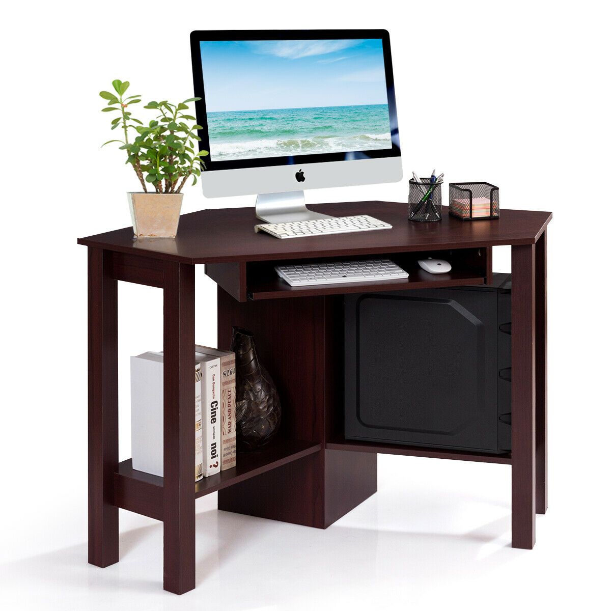 Wooden Computer PC Table Corner Desk With Drawer & Shelf Study Room Office  Brown