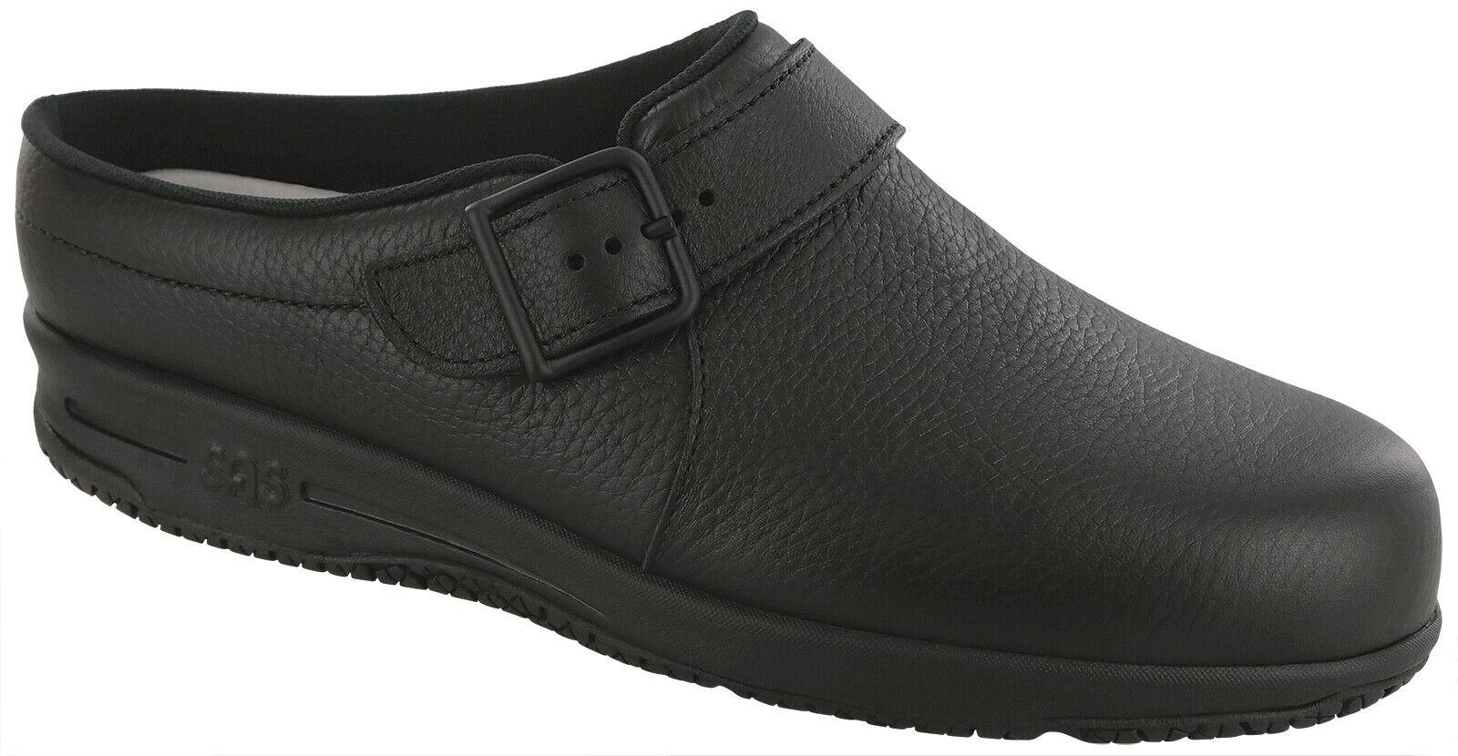 SAS Women's Shoes Clog Slip-Resistant Black 10.5 WW Double Wide FREE SHIPPING