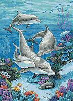 THE DOLPHINS DOMAIN Dimensions Counted Cross Stitch Kit 1996 UNOPENED Craft Supplies