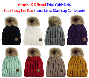 957eab1291f C.C Thick Cable Knit Faux Fuzzy Fur Pom Fleece Lined Skull Cap Cuff ...