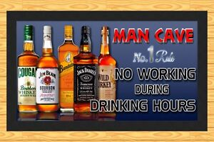 Man Cave Hours : Man cave 'no working during drinking hours' bar runner mat ebay