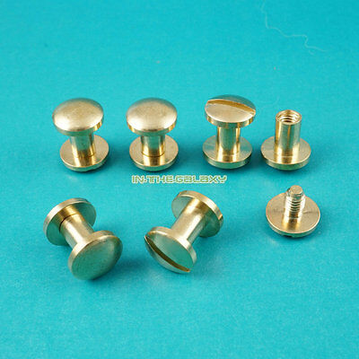 50 Set 10*4mm Solid Brass Rivet Chicago Screw for Leather Craft Flat