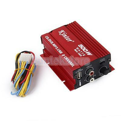 2-CH 500W Hi-Fi Stereo Audio Amplifier AMP Car Motorcycle Boat Home mp3