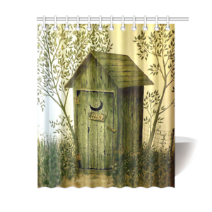 Image Is Loading Outhouse Wooden House Bathroom Accessories Shower Curtain Bath