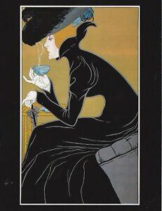 Postcard-034-The-Lady-in-Black-amp-Big-Hat-Drinking-Hot-Tea-034-Classic-V-30