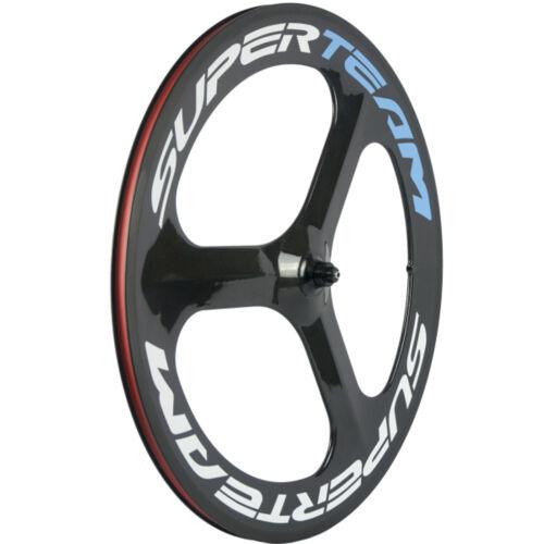 SUPERTEAM Road Bike Tri Spoke Wheel Clincher 70mm Carbon Wheelset 3 Spoke Wheels