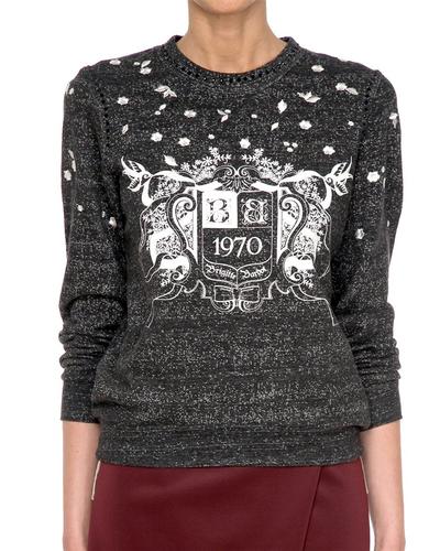 Vendita  NUOVO Brigitte Bardot  SULA  Retro 70 S Maglione stampato in nero H166