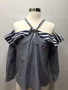 9ee6f1437e36f NWT J Crew Womens Striped Off-the-shoulder Tie-neck Top H0853 Size 8 ...