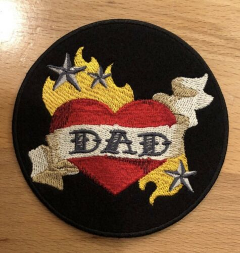 MOM OR DAD TATTOO Heart Embroidered Patch