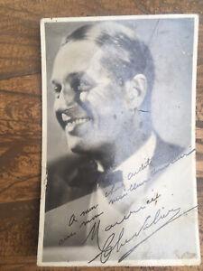 Autographe original Carte Photo dédicacée Maurice Chevalier Chanson Francais