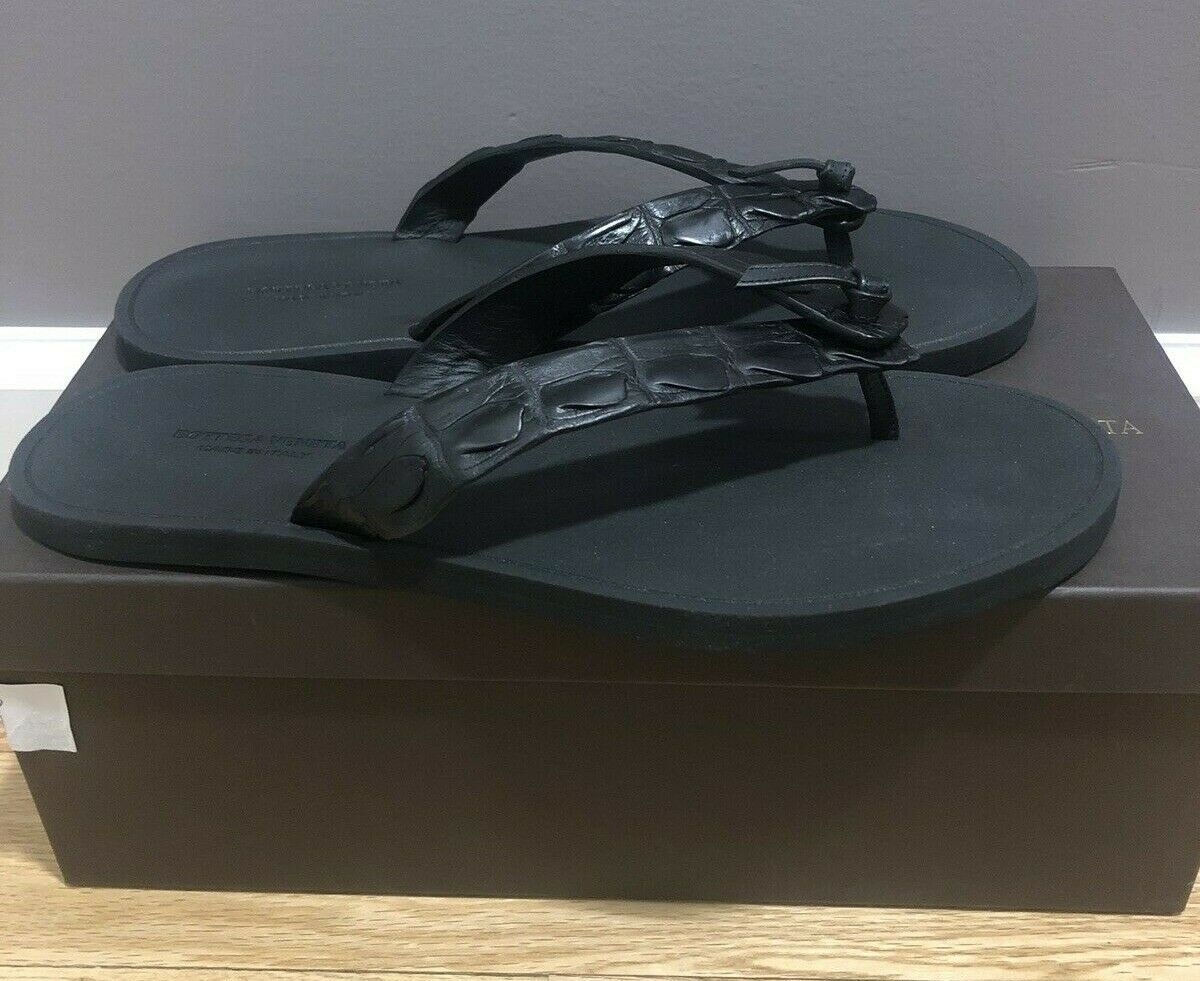 Bottega Veneta Mens nero Crocodile Flip Flop Sandal Sz 11.5 Never Worn