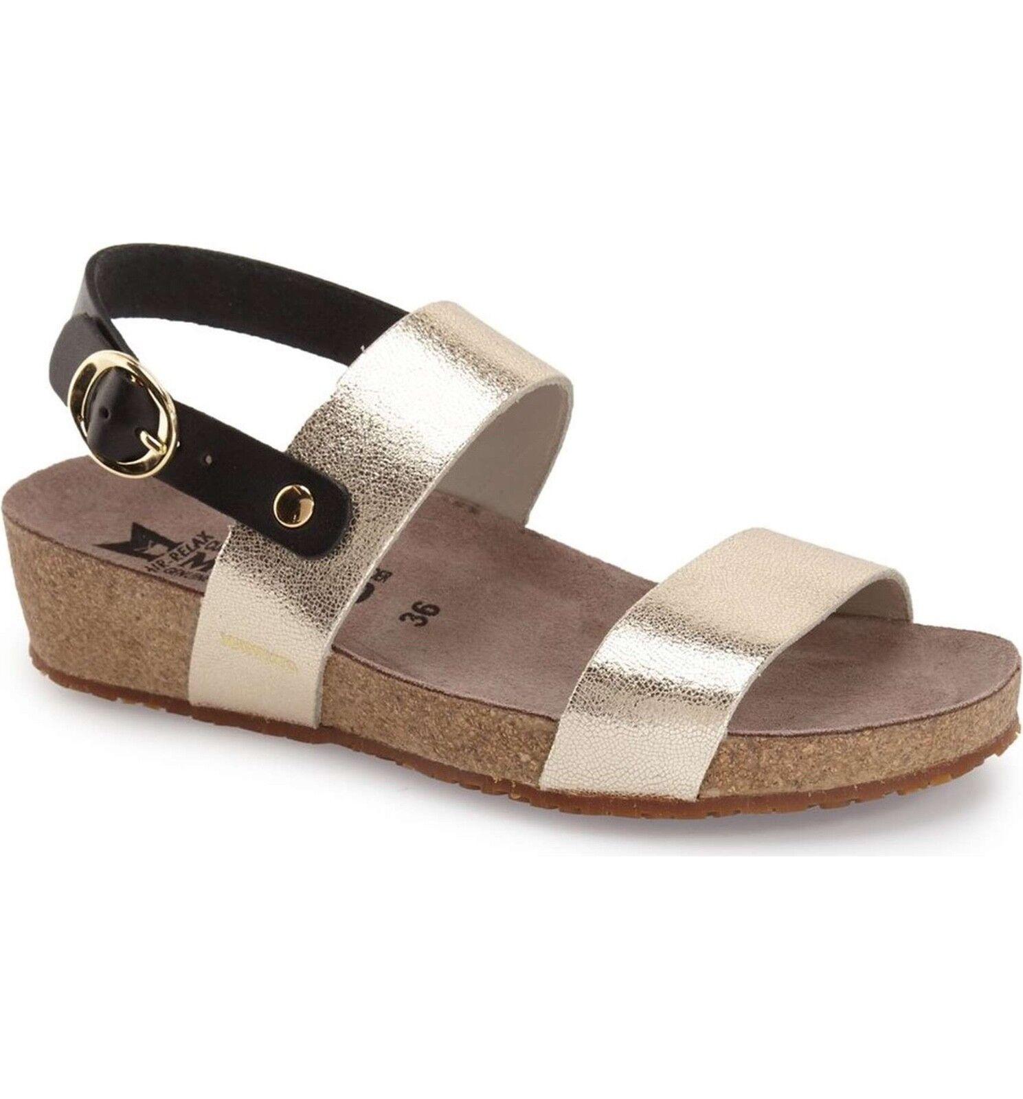 MEPHISTO 'Italia' Sandale 37 in Platinum Leder EU 37 Sandale US 6.5-7 d94340