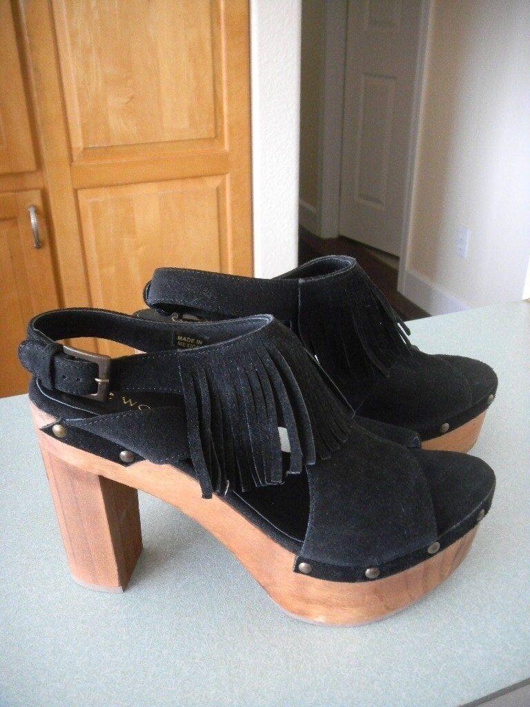 Sconto del 40% Five Worlds by Cordini nero Leather Fringe Tijuana Platform Heel Heel Heel Dimensione 10 or 41  con il prezzo economico per ottenere la migliore marca