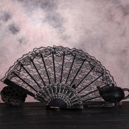 Chinese Lace Silk Folding Hands Held Dance Fan Flowerframe Pattern Party//Wedding