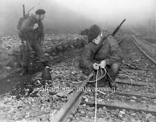 Old Photo.  Korean War.  British Soldiers Destroying Railway Lines