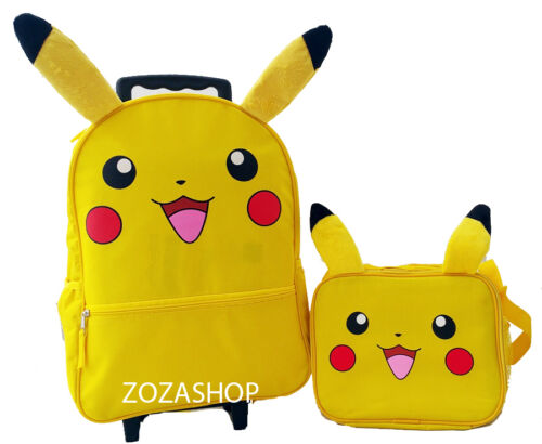 "Pokemon 16/"" Large Roller Backpack /& Lunch Bag 2pc Set New Pikachu Backpack"
