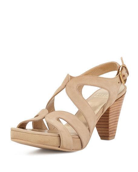368 Größe 7.5 Stuart Weitzman Swingband Tan Suede Slingbacks Sandales Schuhes