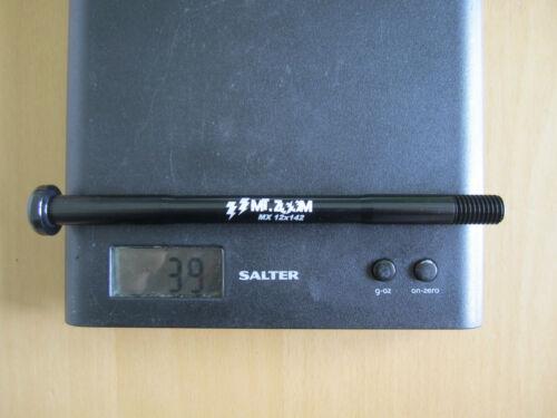 MT ZOOM Ultralight MAXLE style REAR THRU AXLE 12mm x 142mm BLACK 39g T8