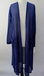 L-Large-LuLaRoe-Sarah-Duster-Cardigan-Beautiful-Solid-Royal-Blue-Lace-NWT-44