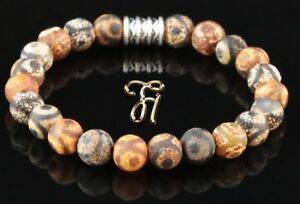 Tibet-Achat-Armband-Bracelet-Perlenarmband-Buddha-braun-matt-8mm