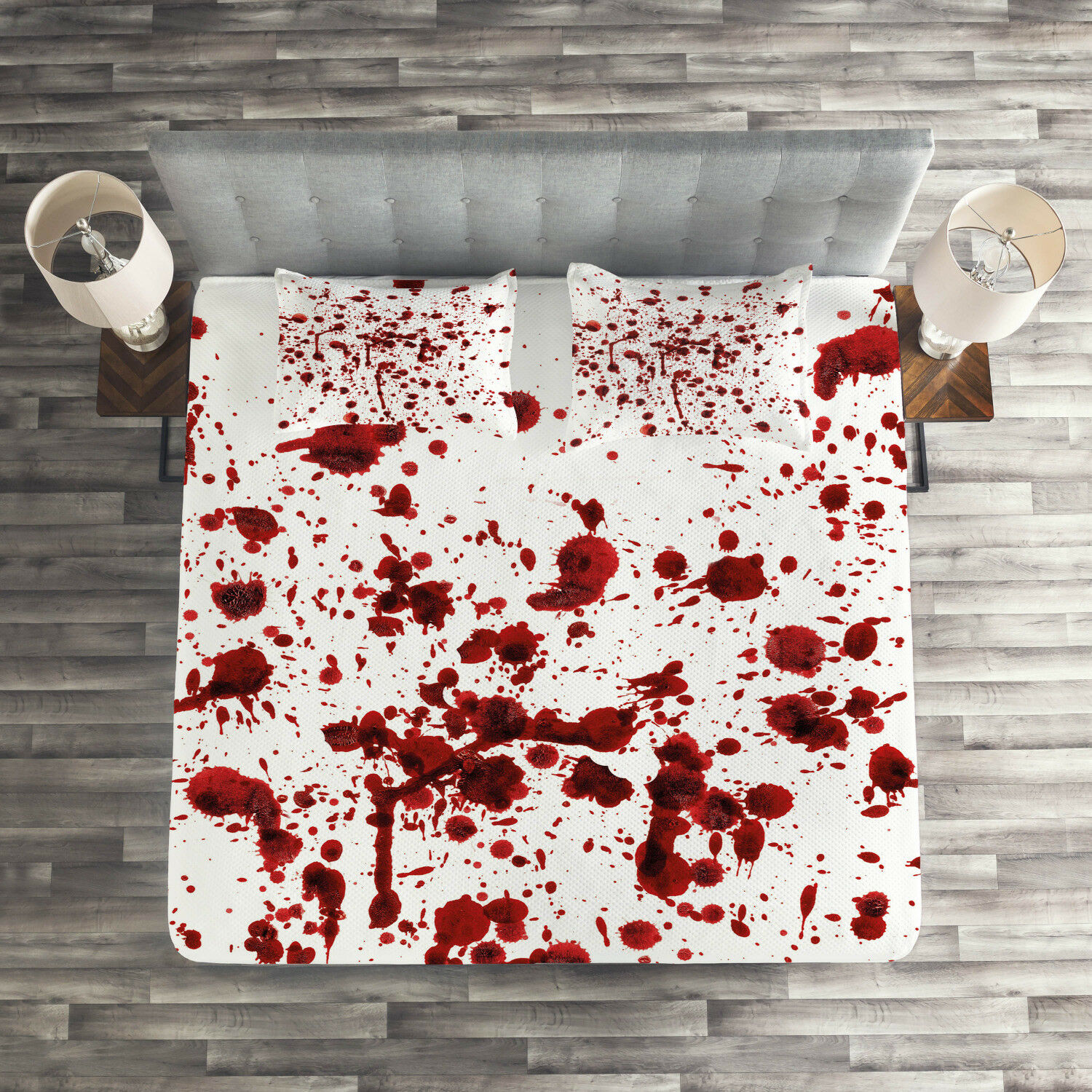 Bloody Quilted Coverlet & Pillow Shams Set, Splashes of Blood Scary Print