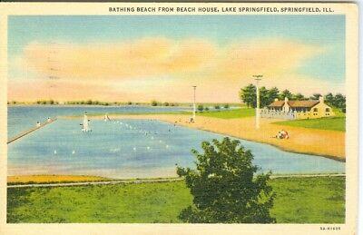 Bathing Beach From Beach House, Lake Springfield Illinois