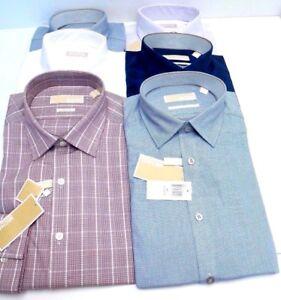 MICHAEL-KORS-Men-039-s-Slim-Fit-Dress-Shirt-100-Cotton-Multicolor-Size-New