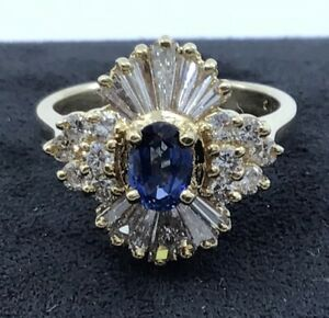 Vintage-14k-Yellow-Gold-Sapphire-and-1ctw-Diamond-Cocktail-Ring