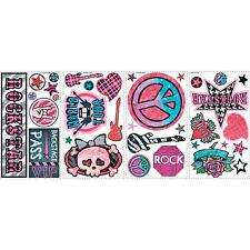 ROCK 'n' ROLL GIRLS wall stickers 34 decals Guitar Skull Peace Sign scrapbook