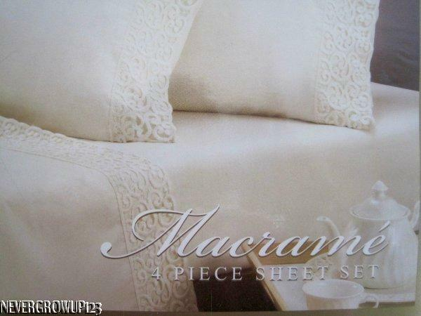 MACRAME 4 PC QUEEN SHEET SETSHEETSBEDDINGCOTTON SATEENIVORY COLORNIP