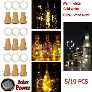 10X-20LED-Paquete-de-10-Luces-Solares-Para-Botellas-de-Vino-de-Corcho-de-Cobre