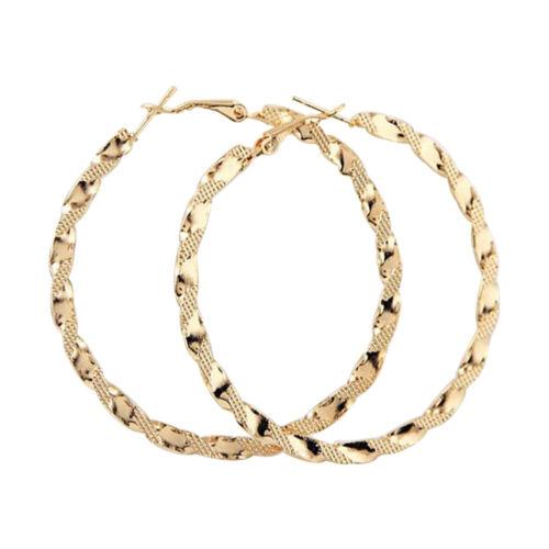 Damen Creole große Clip Ohrringe Klapp Ohrschmuck Ohrstecker Goldfarbig Hoop