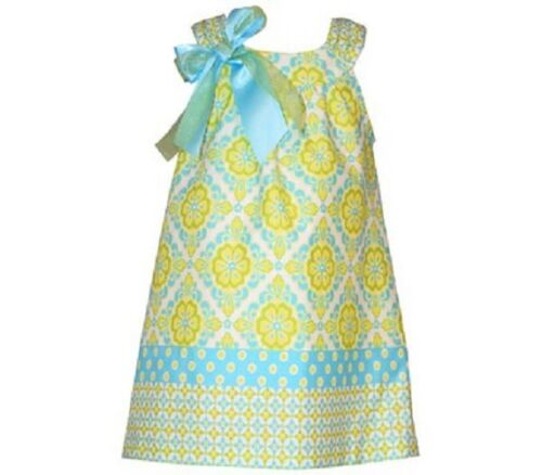 BONNIE JEAN Girls Spring Easter Summer Diamond Floral Bow Dress /& Panty 12 18 24