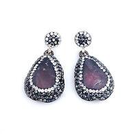Pear Shape Purple Druzy Earrings W/ White & Black Crystals Sterling Silver 925