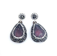Pear Shape Purple Druzy Earrings W/ White & Black Crystals Sterling Silver 925