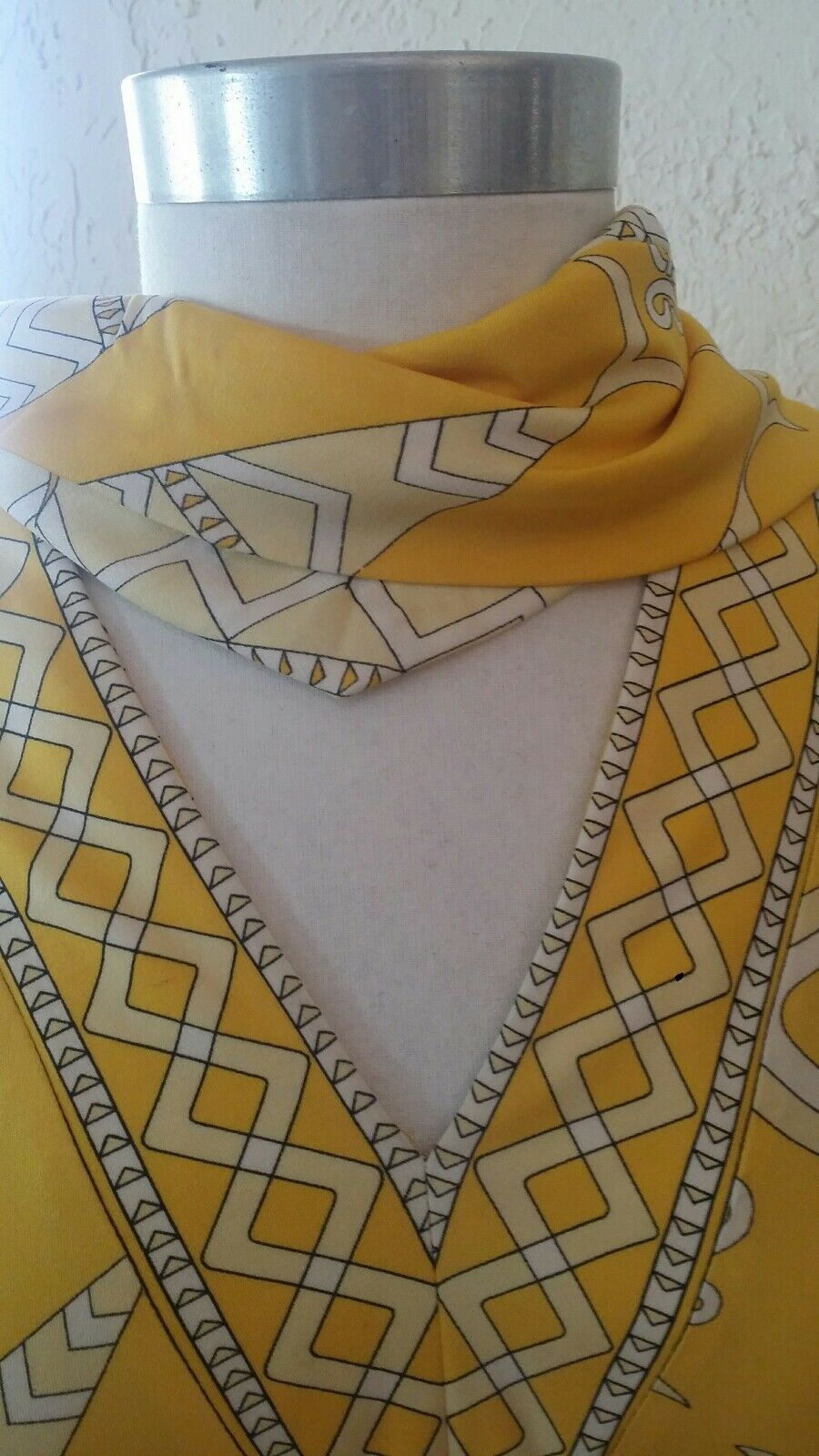 VINTAGE 60s EMILIO PUCCI SILK SCARF print 2 PIECE DRESS ENSEMBLE SAKS YELLOW