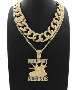 NEW ICED OUT MIAMI CUBAN CHAIN & NO LIMIT RECORDS CHAIN ...